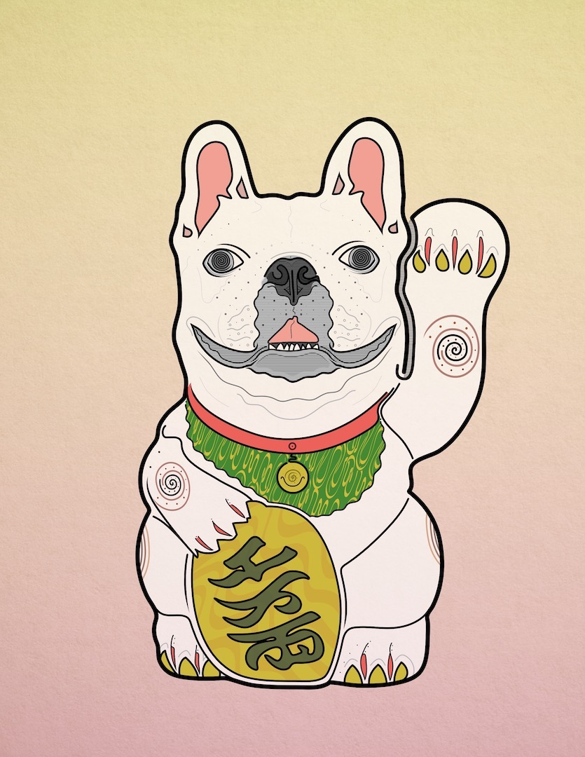 illustration of a lucky-cat style statue with a french bulldog head