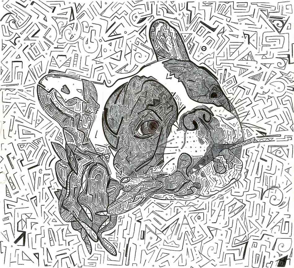 drawing of a french bulldog</a> holding a rose